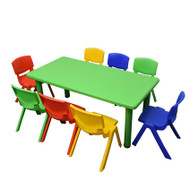 Kids Rectangle Green Activity Table with 8 Mixed Coloured Chairs Set