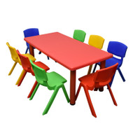 Kids Rectangle Red Activity Table with 8 Mixed Coloured Chairs Set