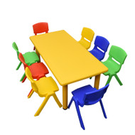 Kids Rectangle Yellow Activity Table with 8 Mixed Coloured Chairs Set