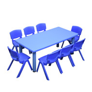 Kids Rectangle Blue Activity Table with 8 Blue Chairs Set