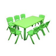 Kids Rectangle Green Activity Table with 8 Green Chairs Set