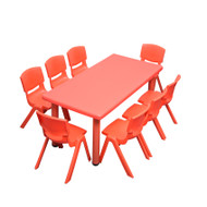 Kids Rectangle Red Activity Table with 8 Red Chairs Set