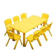 Kids Rectangle Yellow Activity Table with 8 Yellow Chairs Set