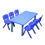 Kids Rectangle Blue Activity Table with 6 Blue Chairs Set