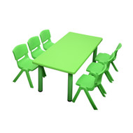 Kids Rectangle Green Activity Table with 6 Green Chairs Set