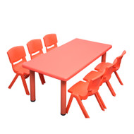 Kids Rectangle Red Activity Table with 6 Red Chairs Set