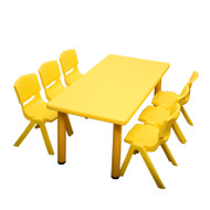 Kids Rectangle Yellow Activity Table with 6 Yellow Chairs Set