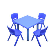 Kids Children Square Blue Activity Table with 4 Blue Chairs
