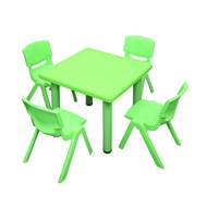 Kids Children Square Green Activity Table with 4 Green Chairs