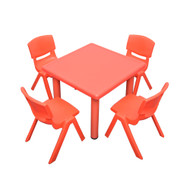 Kids Children Square Red Activity Table with 4 Red Chairs