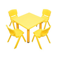 Kids Children Square Yellow Activity Table with 4 Yellow Chairs