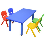 Kids Rectangle Blue Activity Table with 4 Mixed Coloured Chairs Set