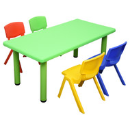 Kids Rectangle Green  Activity Table with 4 Mixed Coloured Chairs Set