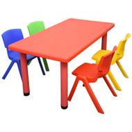 Kids Rectangle Red  Activity Table with 4 Mixed Coloured Chairs Set
