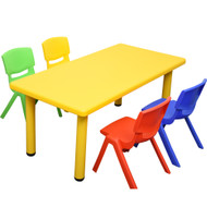 Kids Rectangle Yellow Activity Table with 4 Mixed Coloured Chairs Set