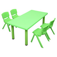 Kids Rectangle Green Activity Table with 4 Green Chairs Set