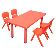 Kids Rectangle Red Activity Table with 4 Red Chairs Set