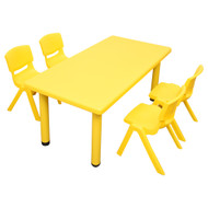 Kids Rectangle Yellow Activity Table with 4 Yellow Chairs Set