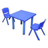 Kids Children Square Blue Activity Table with 2 Blue Chairs