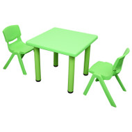 Kids Children Square Green Activity Table with 2 Green Chairs