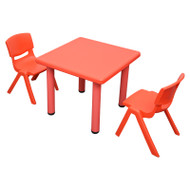 Kids Children Square Red Activity Table with 2 Red Chairs