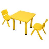 Kids Children Square Yellow Activity Table with 2 Yellow Chairs