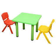 Kids Children Square Green Activity Table with 2 Mixed Chairs
