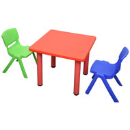 Kids Children Square Red Activity Table with 2 Mixed Chairs