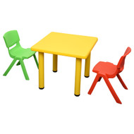 Kids Children Square Yellow Activity Table with 2 Mixed Chairs