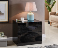 Designer High Gloss Black Bedside Table Nightstand Cabinet 2 Drawers