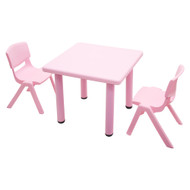 Kids Children Square Pink Activity Table with 2 Pink Chairs