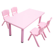 Kids Rectangle Pink Activity Table with 4 Pink Chairs Set
