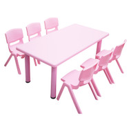 Kids Rectangle Pink Activity Table with 6 Pink Chairs Set