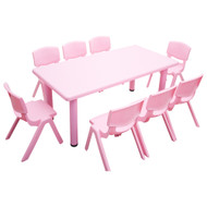 Kids Rectangle Pink Activity Table with 8 Pink Chairs Set