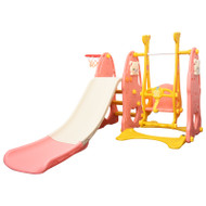 3-IN-1 Kids Swing Slide & Basketball Activity Set Pink Grey