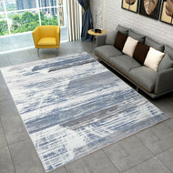 Designer Patterned Low Pile Floor Area Rug Carpet Grey 300x200cm
