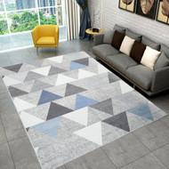 Designer Low Pile Patterned Floor Area Rug Carpet Grey 300x200cm