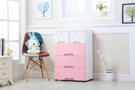 4 Tier Tallboy Dresser Chest of Drawers with Wheels Big Storage Space Pink White
