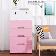 5 Tier Tallboy Dresser Chest of Drawers with Wheels Big Storage Space Pink White