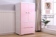 Large Wardrobe Tallboy Chest of Drawers For Kids Bedroom Pink White 4 Wheels