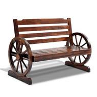 Gardeon Wooden Wagon Wheel Bench - Brown