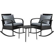 Gardeon 3 Piece Outdoor Chair Rocking Set - Black
