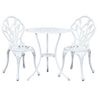 Gardeon 3PC Outdoor Setting Cast Aluminium Bistro Table Chair Patio White