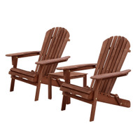 Gardeon 3PC Outdoor Setting Beach Chairs Table Wooden Adirondack Lounge Garden G1