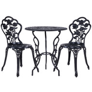 Gardeon 3PC Outdoor Setting Cast Aluminium Bistro Table Chair Patio Black P1