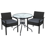 Gardeon Outdoor Furniture Dining Chairs Wicker Garden Patio Cushion Black 3PCS Sofa Set Tea Coffee Cafe Bar Set