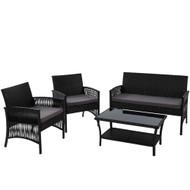 Gardeon Outdoor Furniture Rattan Set Wicker Cushion 4pc Black