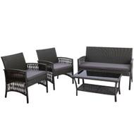 Gardeon Outdoor Furniture Rattan Set Wicker Cushion 4pc Dark Grey
