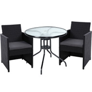 Gardeon Patio Furniture Dining Chairs Table Patio Setting Bistro Set Wicker Tea Coffee Cafe Bar Set
