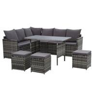 Gardeon Outdoor Furniture Dining Setting Sofa Set Lounge Wicker 9 Seater Mixed Grey